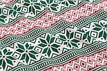 Тканина бязь з новорічним орнаментом червоно-зеленого кольору, №3023а, фото 3