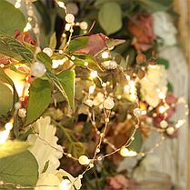 Гирлянда для декора жемчуг светодиодная 2 м, золото, фото 3