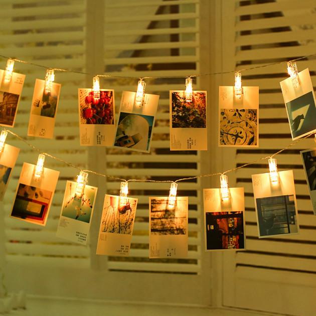 Декоративная LED гирлянда с прищепками для фото 20 led, 3 м, на батарейках 3 шт AA