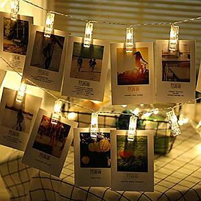 Декоративная LED гирлянда с прищепками для фото 20 led, 3 м, на батарейках 3 шт AA, фото 2