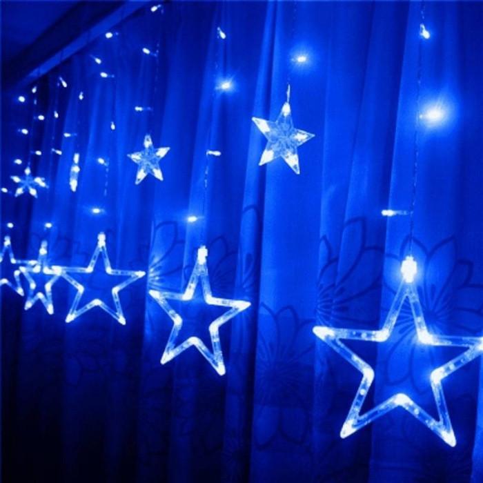 Новогодняя гирлянда штора Звездный занавес 3 х 1 м (синий)