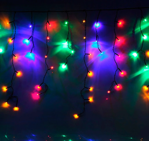 Уличная гирлянда бахрома мультицвет 3 м, 100 LED, с переходником, черный провод