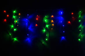 Уличная гирлянда бахрома мультицвет 3 м, 100 LED, с переходником, черный провод, фото 2