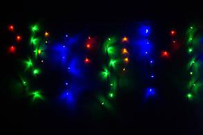 Уличная гирлянда бахрома мультицвет 5 м, 120 LED, с переходником, черный провод, фото 2
