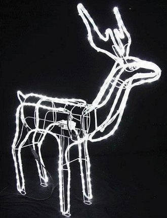 Олень светящийся 120 см белый с поворотом головы, фото 2