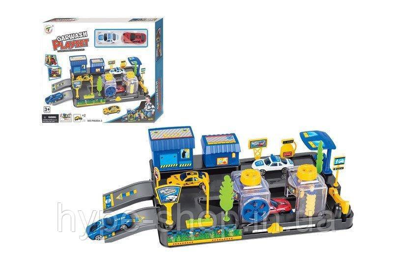 Детский набор Паркинг автотрек- автомойка 2 машинки