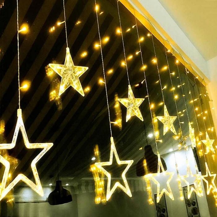 Новогодняя гирлянда штора на окно Звездный занавес 3 х 1 м (теплый белый)