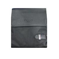 Мужская сумка через плечо Polo D-03/09 черная, эко-кожа, прямоугольная, регулировка ремня, Сумка через плечо