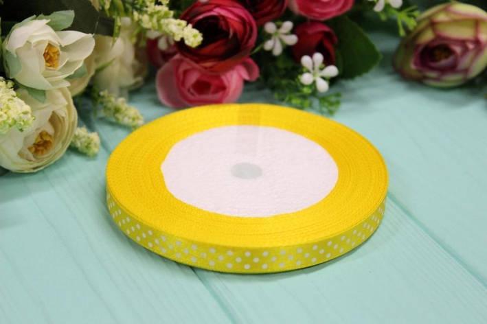 Атласная лента в горошек 1см*25ярдов №8012 - Желтая, фото 2