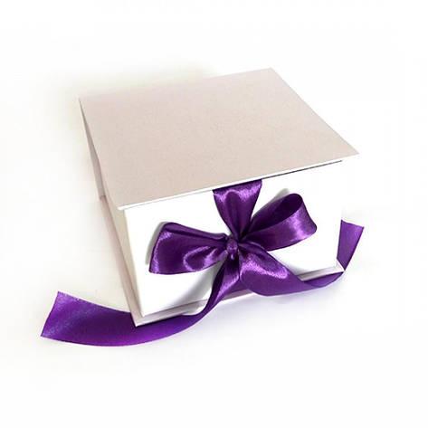 Коробка Табакерка на лентах 12*12*7,5см Белая ламинация, фото 2