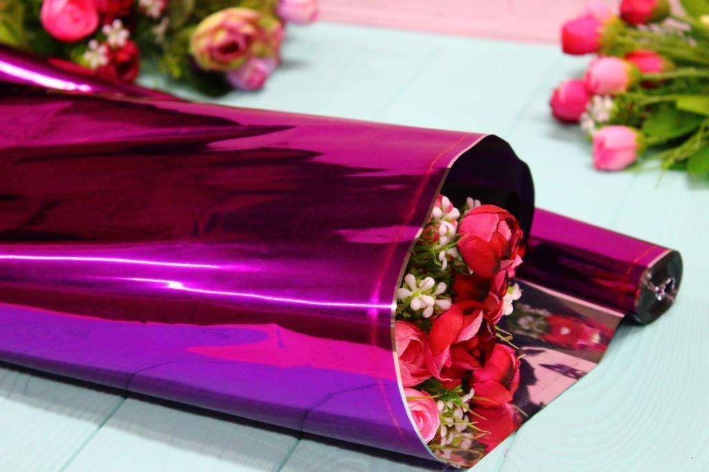 Металлизированная пленка для цветов 60см/0,5кг - Малиновая