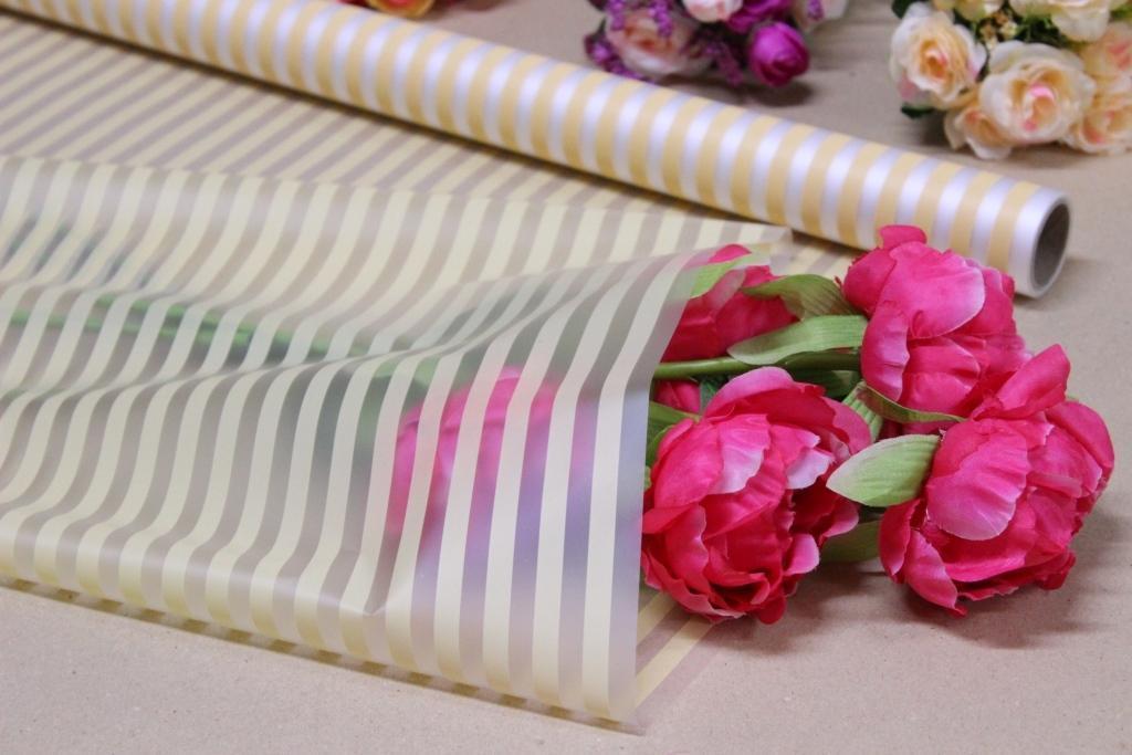 Калька для цветов - матовая флористическая пленка 70см*10м Полоса персиковая