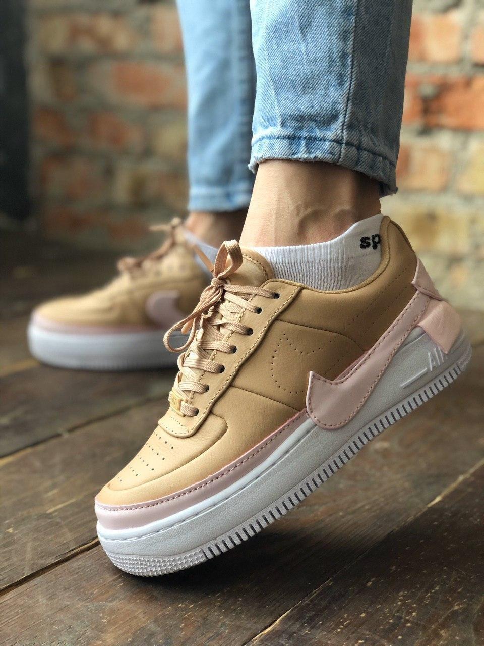 "Кроссовки женские Nike Air Force Jester""Biege/Pink"""