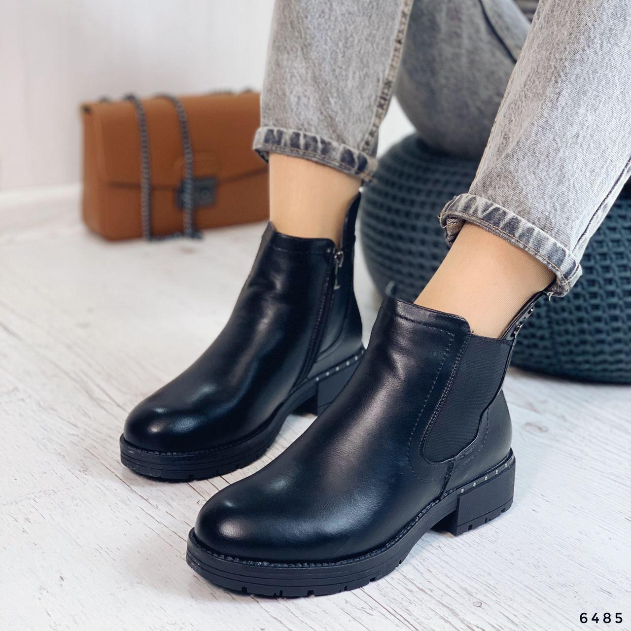Ботинки женские черные, зимние из эко кожи. Черевики жіночі теплі чорні з еко шкіри