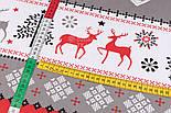 """Тканина новорічна """"Олені, ялинки і орнамент"""" червоно-сірі, №3005, фото 7"""