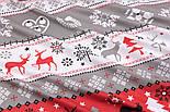 """Тканина новорічна """"Олені, ялинки і орнамент"""" червоно-сірі, №3005, фото 4"""