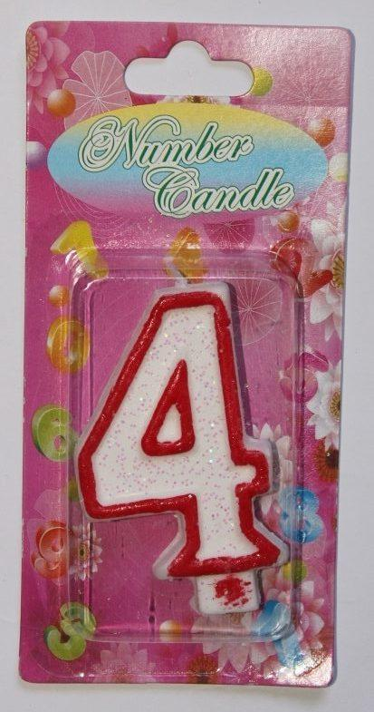 Тортовая свеча цифра Контур красный - 4 годика