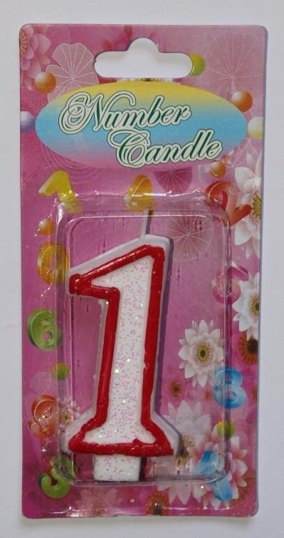Тортовая свеча цифра Контур красный - 1 годик