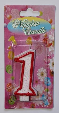 Тортовая свеча цифра Контур красный - 1 годик, фото 2