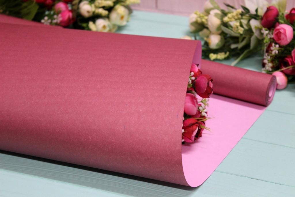 Двухсторонняя однотонная крафт бумага для цветов и подарков 70см*10м Марсал/Розовая пудра