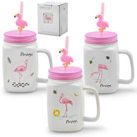 """Чашка-банка с закручивающейся крышкой и трубочкой """"Flamingos"""" 400мл"""