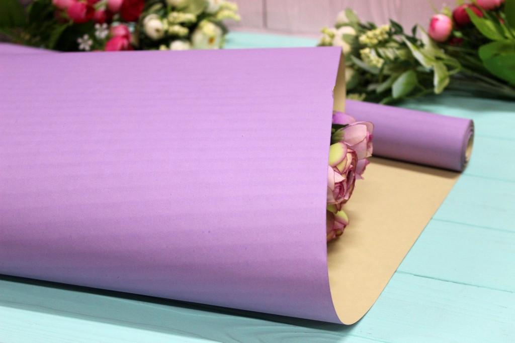 Двухсторонняя однотонная крафт бумага для цветов и подарков 70см*10м Сиреневая/Ванильная