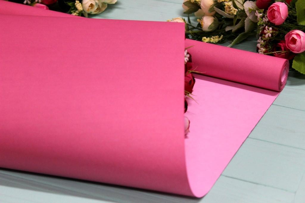 Двухсторонняя однотонная крафт бумага для цветов и подарков 70см*10м Розовая пудра/Розовая