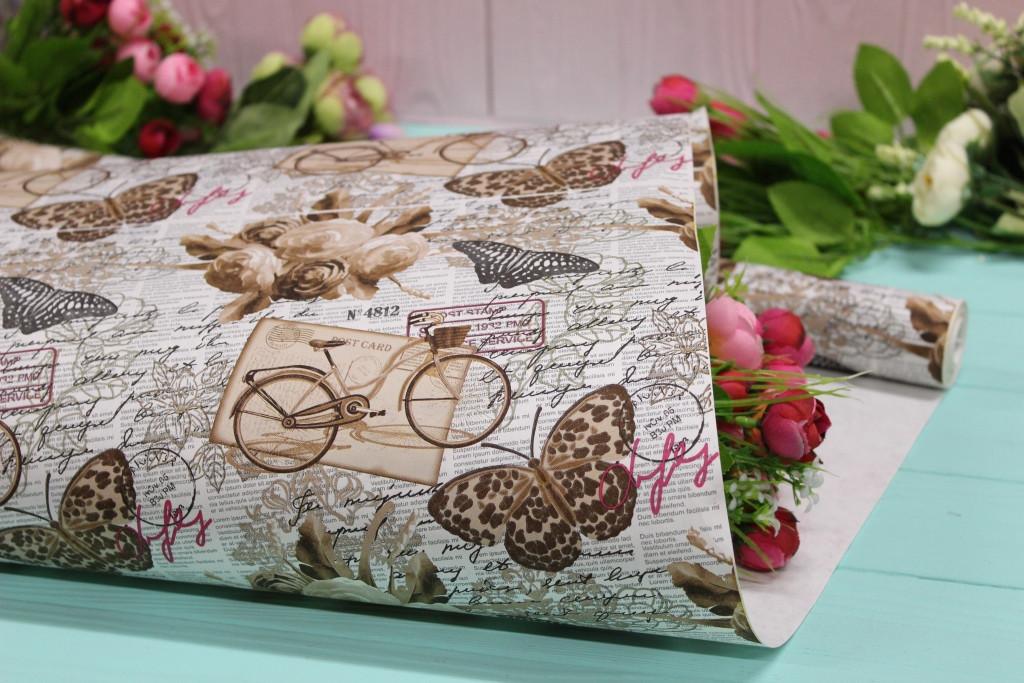Односторонняя крафт бумага для цветов и подарков 70см*10м №1024БЛ 1-СТ