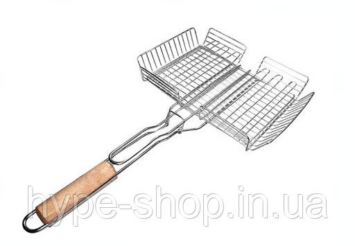 Решетка-гриль из нержавеющей стали с высоким бортом А-Плюс 36 x 28 x 6.5 см (0762)