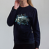 Темно-синий женский свитшот, с котом
