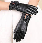 Женские кожаные тонкие перчатки рукавицы Деми Флис Черный Осень П-3