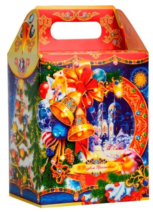 Новогодняя подарочная коробочка для конфет и сладостей 1000гр №43 100шт/уп