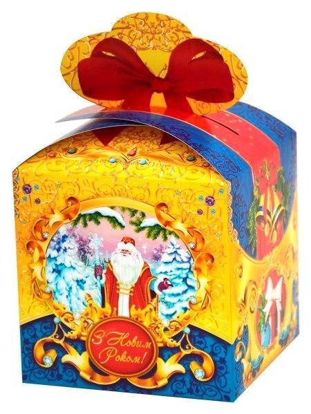 Новогодняя подарочная коробочка для конфет и сладостей 400-600гр №33 100шт/уп