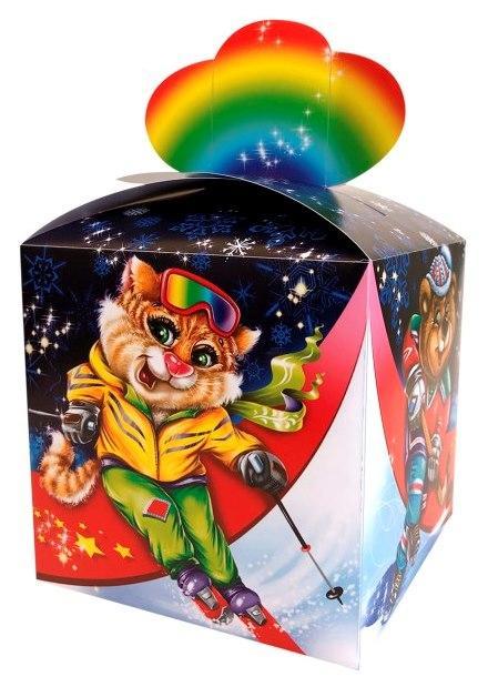 Новогодняя подарочная коробочка для конфет и сладостей 400-600гр №35 100шт/уп