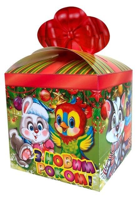 Новогодняя подарочная коробочка для конфет и сладостей 400-600гр №37 100шт/уп