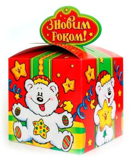Новогодняя подарочная коробочка для конфет и сладостей 400-600гр №38 100шт/уп