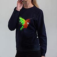 Темно-синий женский свитшот, с колибри, фото 1