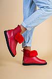 Женские красные кожаные угги, фото 2
