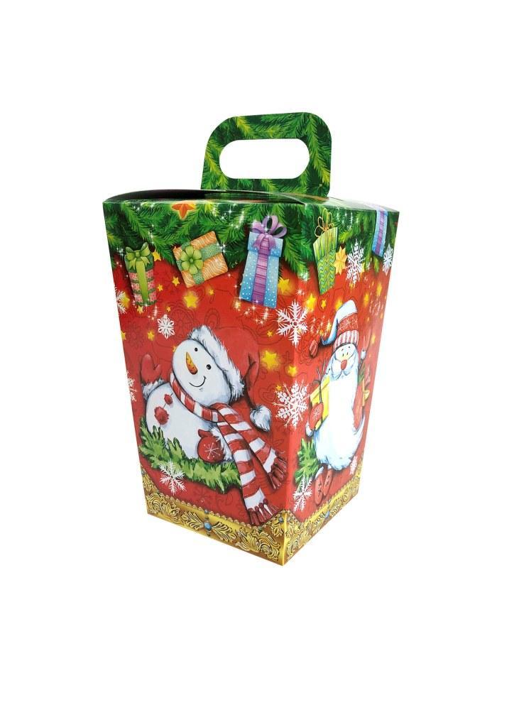 Новогодняя подарочная коробочка для конфет и сладостей 400-500гр №19 100шт/уп