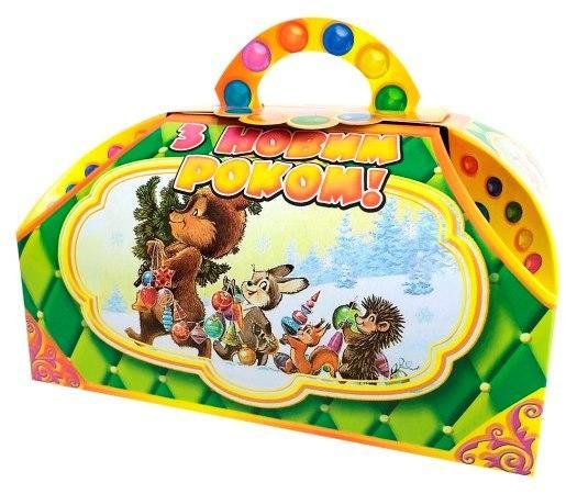 Новогодняя подарочная коробочка для конфет и сладостей 400-500гр №22 100шт/уп