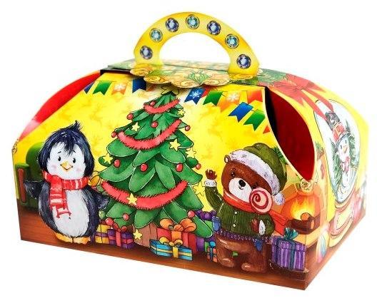 Новогодняя подарочная коробочка для конфет и сладостей 400-500гр №23 100шт/уп