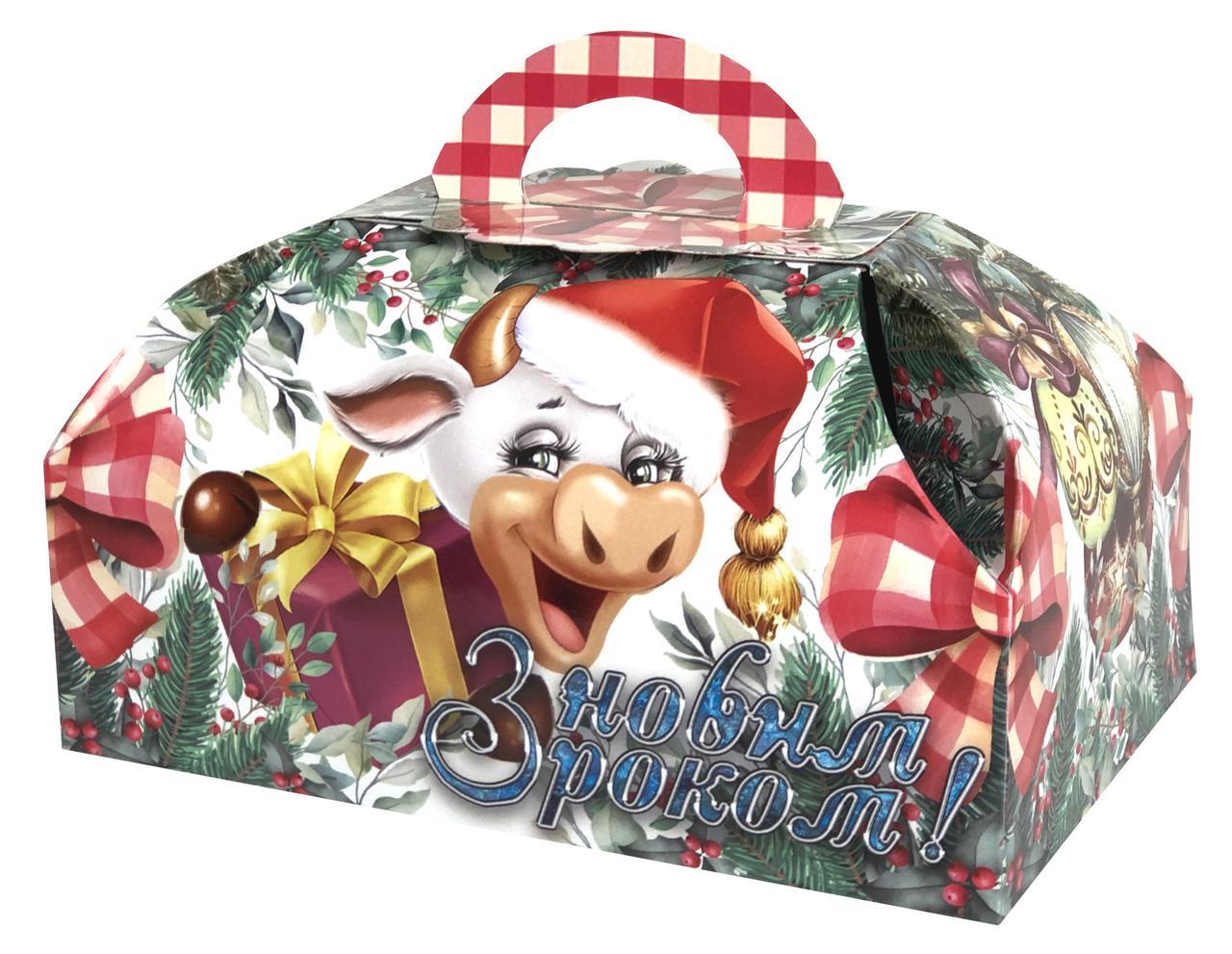 Новогодняя подарочная коробочка для конфет и сладостей 400-500гр №25 100шт/уп