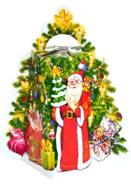 Новогодняя подарочная коробочка для конфет и сладостей 400-500гр №32 100шт/уп