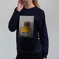 Темно-синий женский свитшот, с котом, фото 1