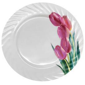 """Тарелка стеклокерамика 8"""" (20.5см) """"Тюльпаны"""" 6шт/уп"""