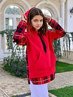 Свитшот с капюшоном на девочку 134;140;146 см, черный,синий, красный, кирпич
