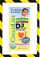 ChildLife, Органический витамин D3 в каплях, натуральный ягодный вкус, 400 МЕ, 10 мл (0,338 жидк. унции), фото 1