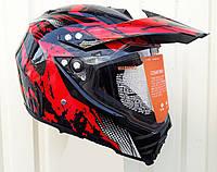 Мото Шлем кроссовый Красно чёрный глянец Эндуро ATV c визиром, фото 1