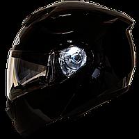 Мотошлем FXW HF-119 solid black шлем трансформер, модуляр с очками, чёрный глянцевый