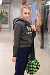 Женский теплый  спортивный костюм из трикотажа трехнитки на флисе хаки 6739, фото 2